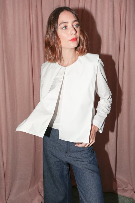 Nancy Stella Soto Collared Long Sleeve Shirt in White