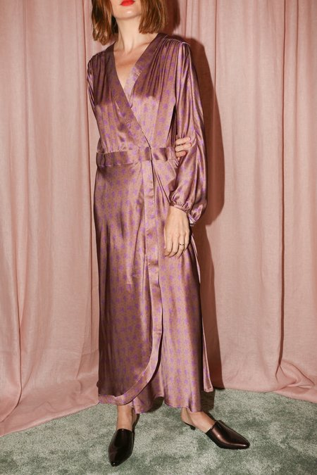 No.6 Berta Wrap Dress in Taupe with Lilac French Floral