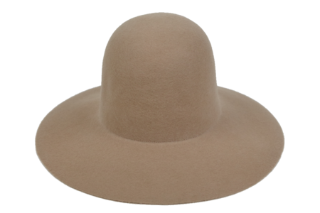 Clyde Wide Brim Dome Hat in Camel Wool