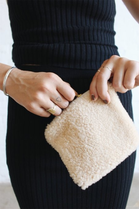 Laura Schoorl Small Pastel Shearling Pouch