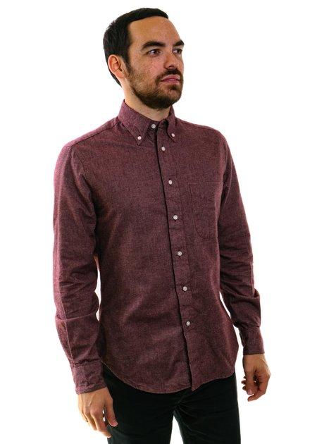 Gitman Vintage Flannel Chambray Shirt in Burgundy