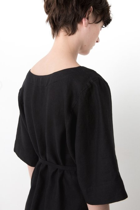 OVNA OVICH Otsek Dress - Black Linen