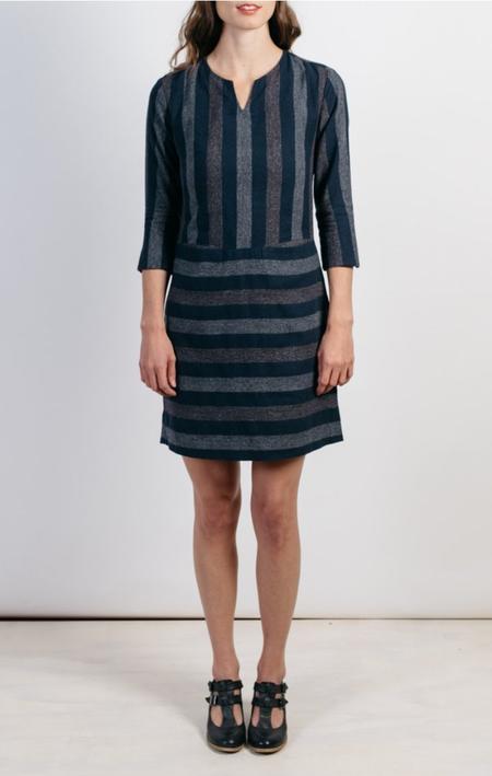 Bridge & Burn Caroline Navy Multistripe Dress
