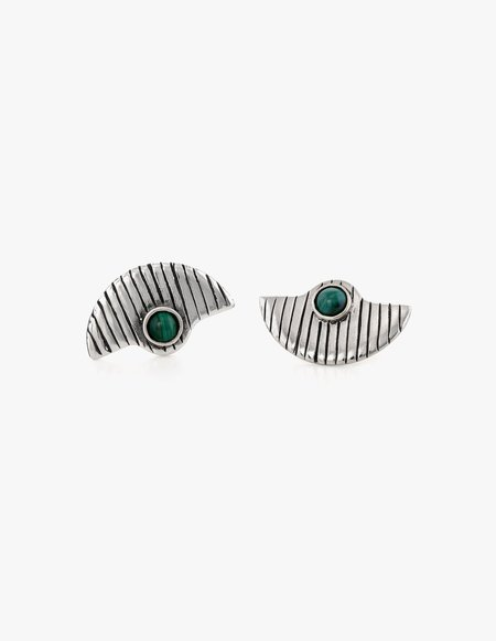 Dream Collective Deco Fan Studs #3 in Malachite