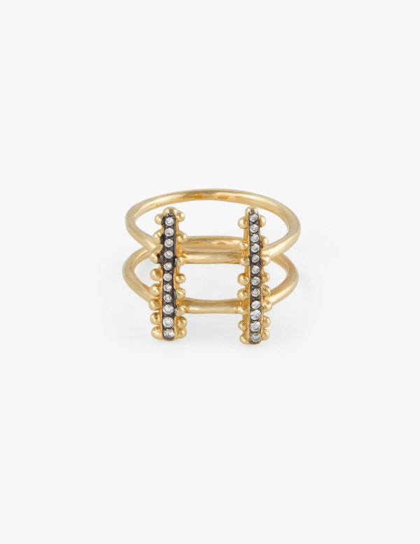 Kathryn Bentley Double Beaded ring with Pave