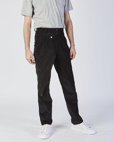 69 Front Flap Pants In Black Corduroy