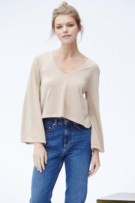 Callahan Sparkle Flared Sleeve V Neck Sweater