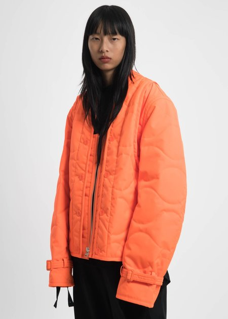 Helmut Lang Safety Orange Quilted Throw On Jacket