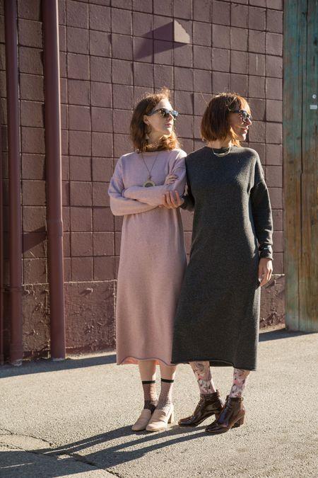 Micaela Greg Speckle Black Sweater Dress