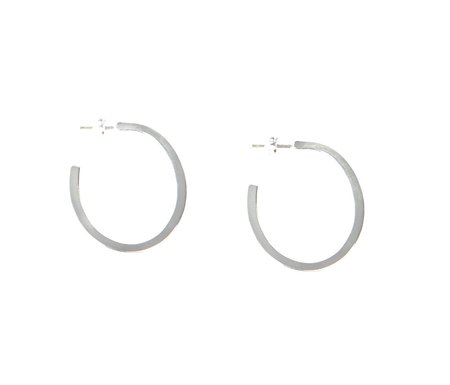 Emily Valentine Silver Oblong Hoops