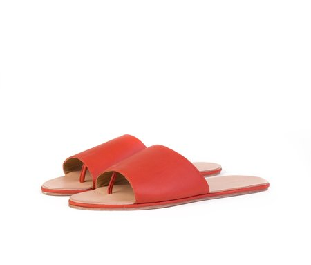 The Palatines Caelum Slide Sandal - Saffron Textured Leather