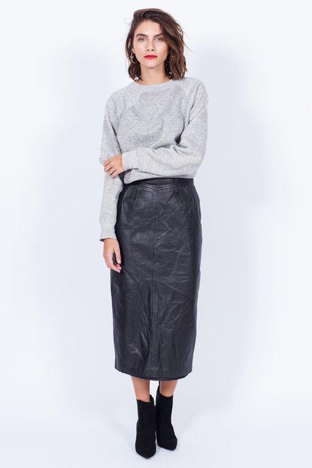 Yo Vintage! Black Leather Midi Skirt (Small)
