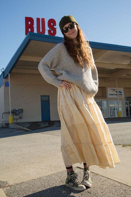 Caron Callahan Halo Crinkled Silk Skirt - Ivory