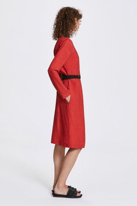 Her Line Bi-stud Linen Blend Wrap Dress - Lava Red