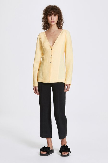 Her Line Studded long sleeve blouse - Linen blend - Butter yellow