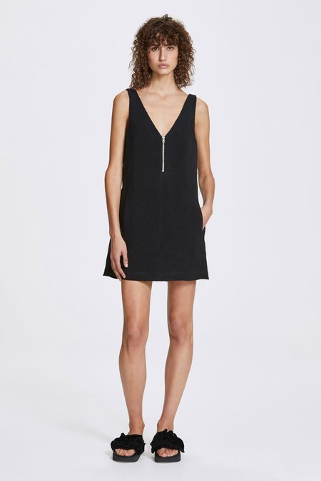 Her Line Zip a-line dress - Heavy linen - Black