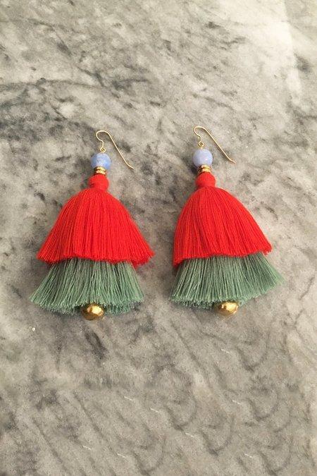 Ora-C Carmen Earrings - Paprika/Sage