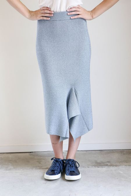 Creatures of Comfort Drape Slit Skirt in Carnival Blue