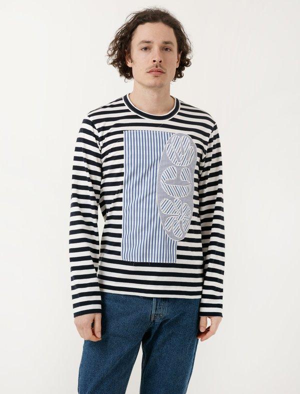 Comme des Garçons Shirt Navy White Stripe Patchwork Tee