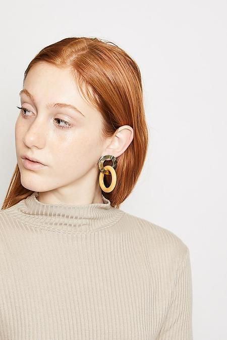 Luiny Wood Ring Earrings - Creme