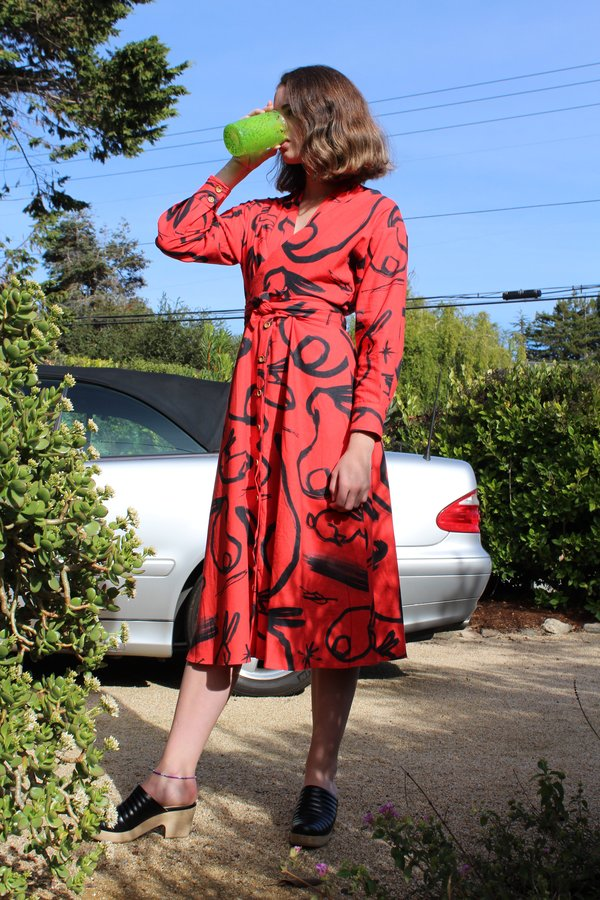 Heinui Mauve Dress - Bright Red Bunny Print