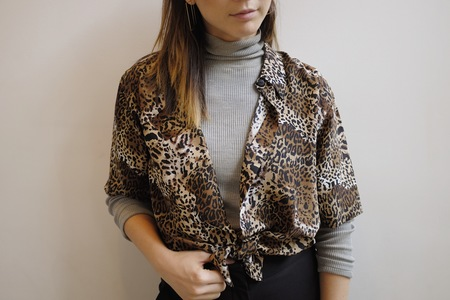 Hey Jude Vintage Leopard Silk Button Up