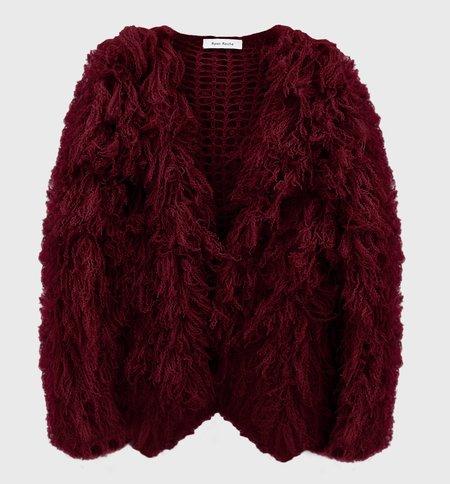 Ryan Roche Cashmere Furry Cardigan - Maroon