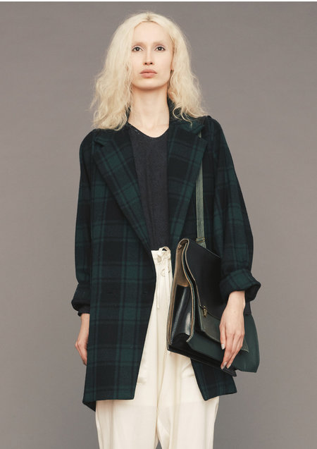 BERENIK COAT - FLANNEL CHECK- BLACK/GREEN