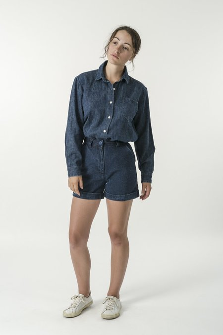 GOOD STUDIO Hemp Denim Classic Collar Travel Shirt