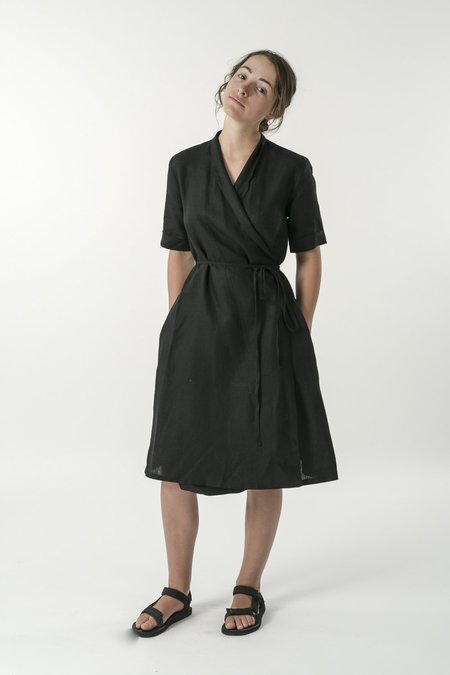 Good Studios Hemp Linen Short Sleeve Wrap Dress