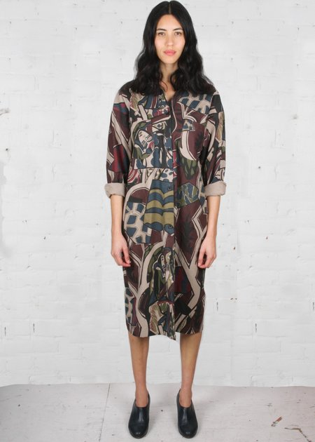 Gravel & Gold Kali Shirt Dress - Forest Sand
