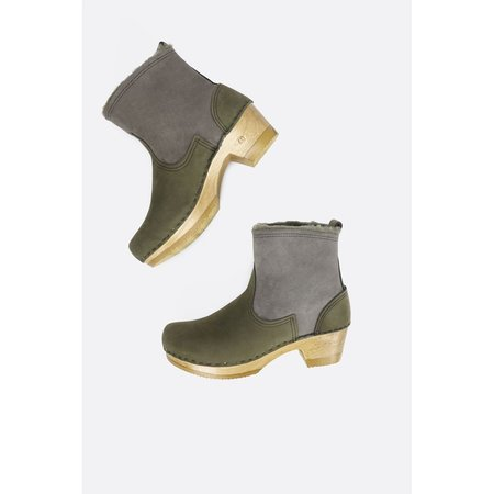 NO.6 Shearling Boot in Mid Heel - Storm Suede