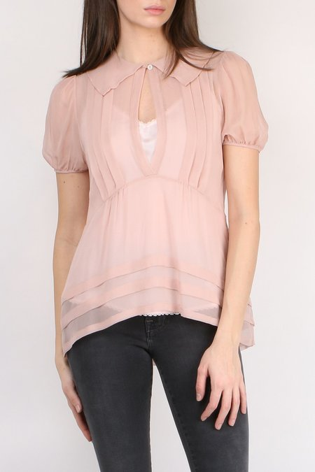 Lee Mathews Hariette Georgette Top - Peach