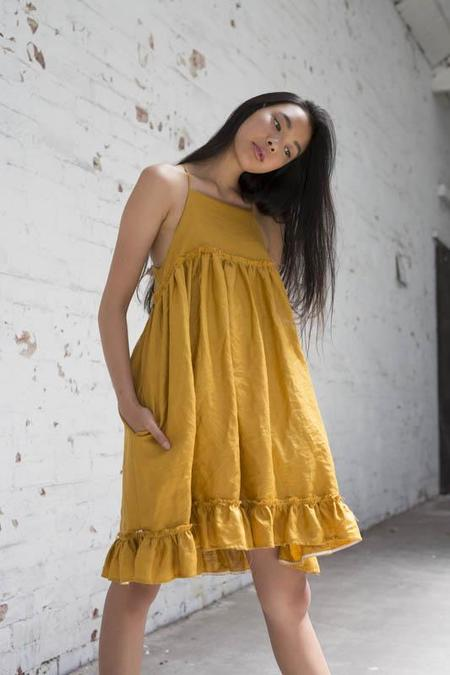 Lois Hazel Mustard Muster Dress