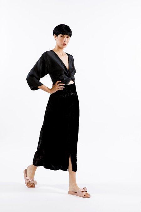Miranda Bennett Paper Bag Skirt, Velvet in Black