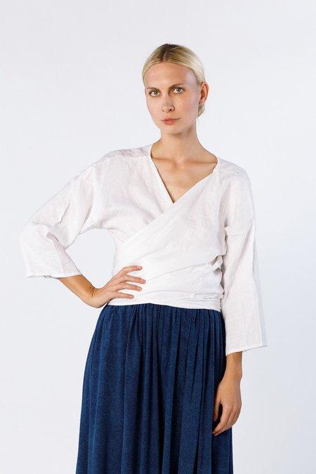 Miranda Bennett Wrap Top, Linen in White