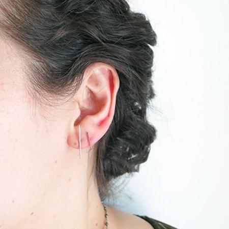 Kathleen Whitaker Staple Stud Earrings - 14k Rose Gold