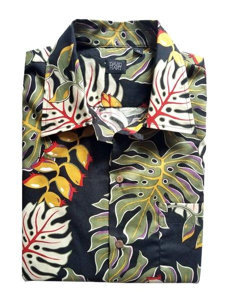 David Hart Camp Shirt - Black Monstera Leaf