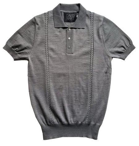 David Hart grey cable knit polo