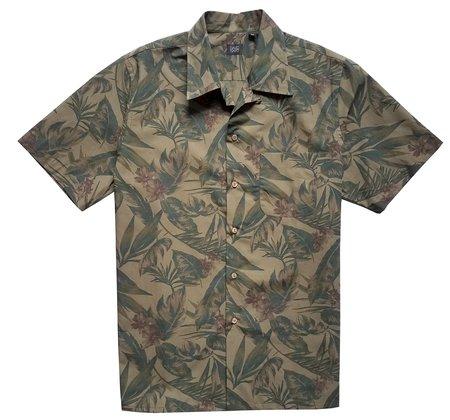 David Hart Olive Tropical Camp Shirt