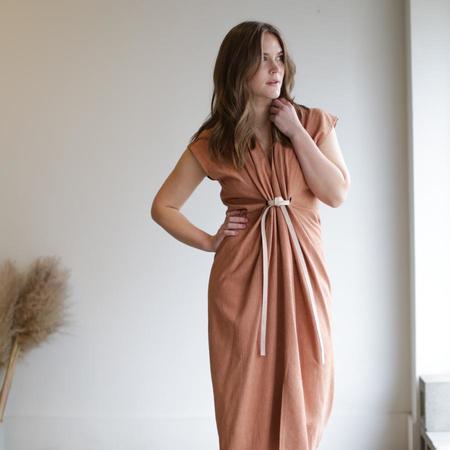 Miranda Bennett Knot Dress - Terracotta Silk Noil