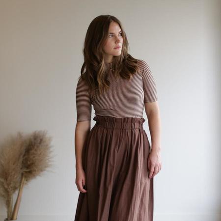 wrk-shp Long Draft Skirt - Cocoa Brown