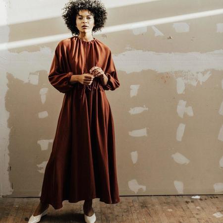 Hackwith Design House Swing Drawstring Dress - Olive / Auburn