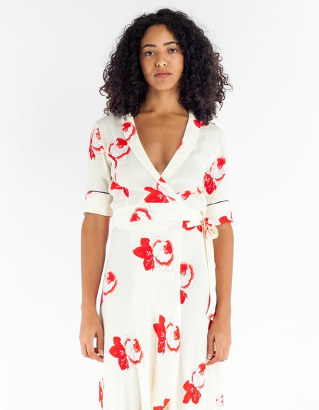 Ganni Harley Crepe Wrap Dress - Vanilla Ice