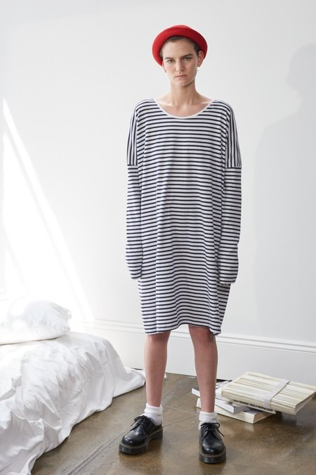 Kowtow Building Block Oversized Dress - Blue/White Stripe