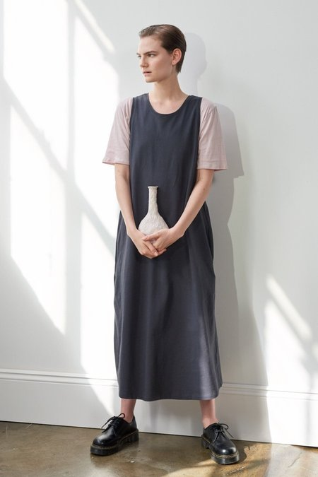 Kowtow Building Block Twist Back Dress - Charcoal