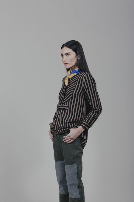 Carleen Striped Yoke Blouse - Black Stripe