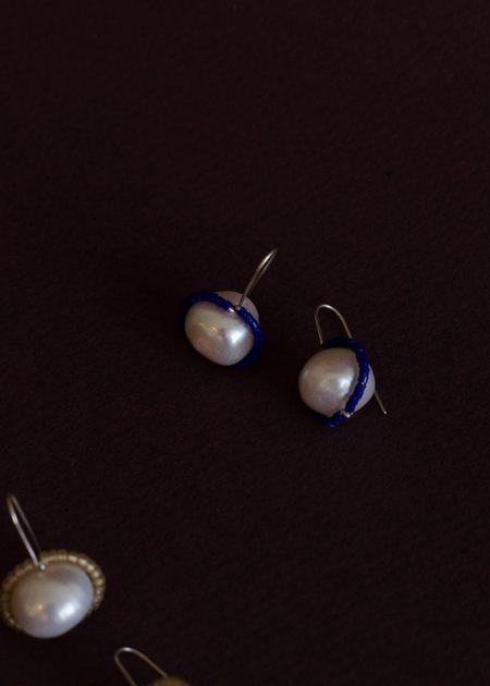 Zelda Murray Pearl Earrings - Blue