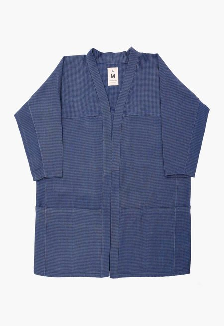 Unisex Houndstooth Pocket Hanten Jacket - Indigo