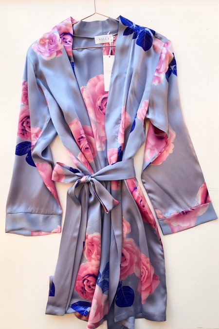 Salua Blue Floral Silk Robe